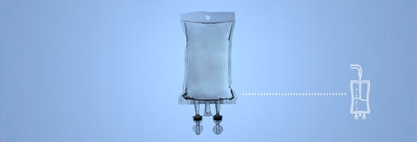 infusion bag on a blue background