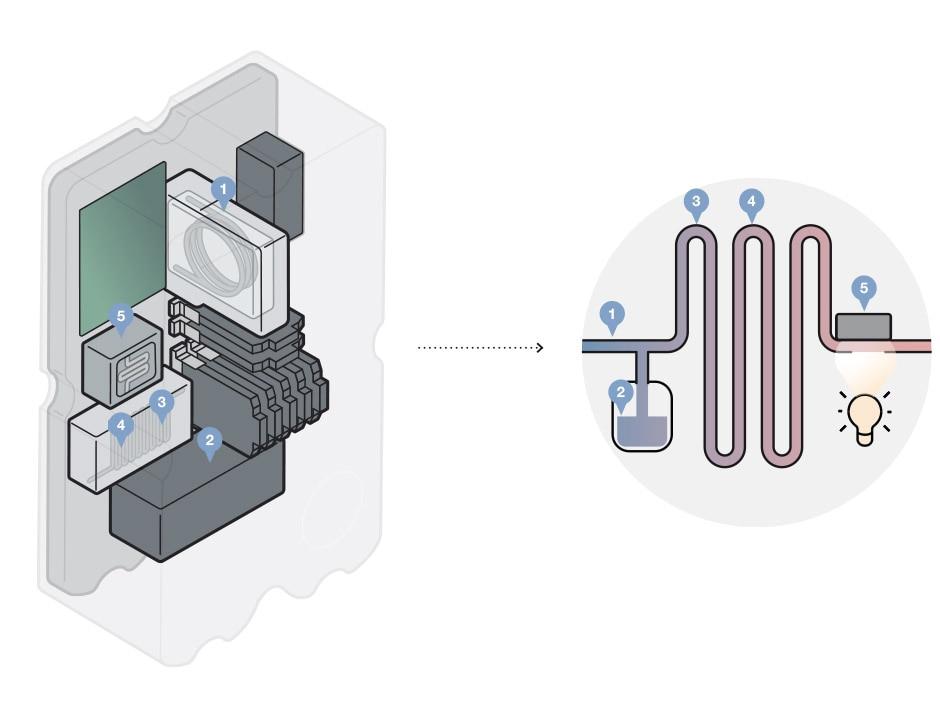 Grafische Darstellung der mikrofluidischen Komponenten des Eisenanalysators MS06; dazu Prinzipdarstellung der Analyse des Eisengehalts