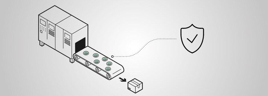 Grafische Darstellung einer Produktionsanlage mit Laufband und verpacktem Produkt, kombiniert mit Symbol Okay-Haken auf Schild