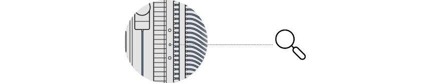 Grafische Darstellung eines Permeat-Monitoring-System, daraus ein Ausschnitt. Eine Lupe, lenkt den Blick auf die Anschlüsse