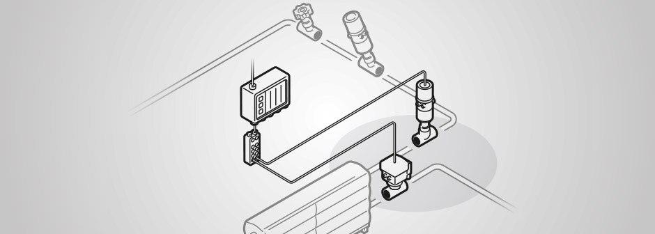 Grafische Darstellung eines Teils einer Produktionsanlage (Bereich Pasteurisierung); im Fokus: Regelventil und Temperatursensor