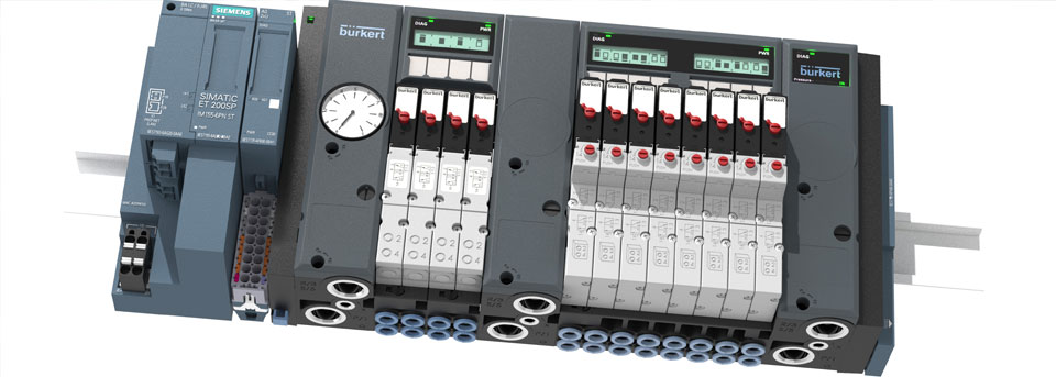 Pneumatic valve island for Siemens SIMATIC ET 200SP and ET 200SP HA