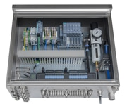 Pneumatic control cabinet solutions for hygienic process environments